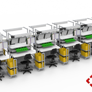 custom designed aluminium t-slot extrusion workbench and bin trolleys