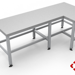 custom designed aluminium t-slot extrusion workbench stainless steel top