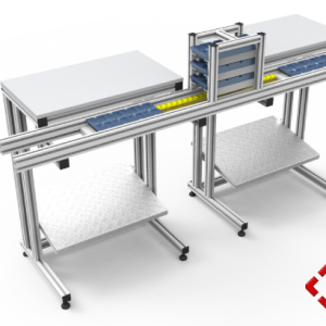 custom designed aluminium t-slot extrusion workbench pod with conveyor