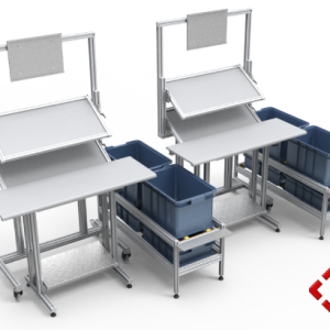 custom designed aluminium t-slot extrusion workbench pod with conveyors