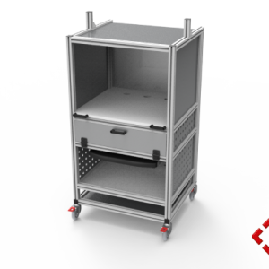 custom designed aluminium t-slot extrusion heavy duty trolley