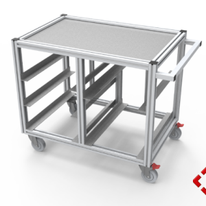 custom designed aluminium t-slot extrusion castor trolley