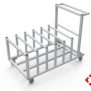 custom designed aluminium t-slot extrusion packing trolley