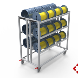 custom designed aluminium t-slot extrusion spindle trolley
