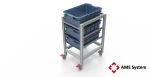 custom designed aluminium t-slot extrusion bin trolley