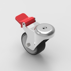 75mm bolt mount swivel castor with brake to suit 30 and 40 series aluminium