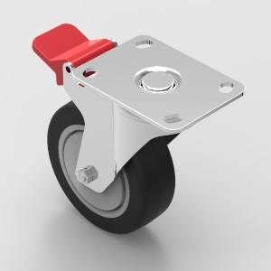 100mm plate mount swivel castor with brake to suit 30 and 40 series aluminium